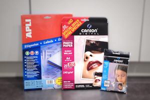 Rames de Papier A4 et A3, Papier photo, Papier transfert, Etiquettes autocollantes, Cartes de visite